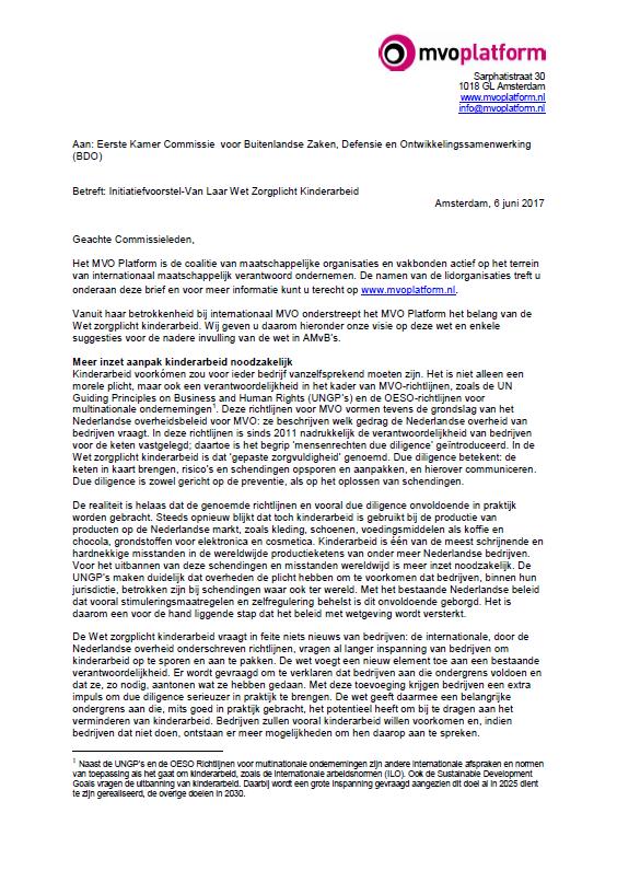 Brief MVO Platform naar Eerste Kamer – Wet zorgplicht kinderarbeid