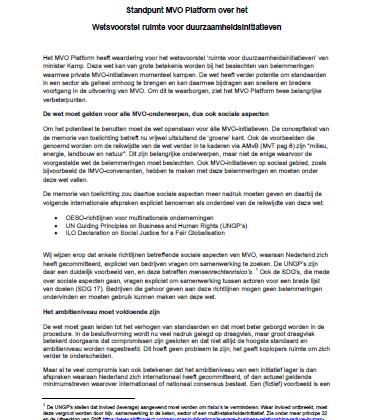 Reactie MVO Platform consultatie Wetsvoorstel ruimte voor duurzaamheidsinitiatieven